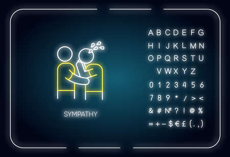 Sympathy neon light icon. Outer glowing effect. Sign with alphabet, numbers and symbols. Friendly consolation and support, emotional care, friendship. Vector isolated RGB color illustration 일러스트