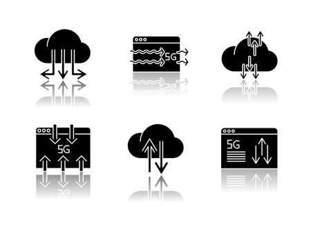 5G technology drop shadow black glyph icons set. Data transmission. Fast information exchange. Cloud computing. Cellular network. Isolated vector illustrations on white space