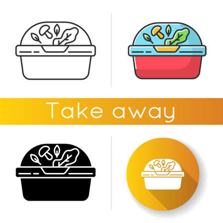 Plastic container for salad icons set. Linear, black and RGB color styles. Reusable lunchbox. Takeaway food package with lid. Takeout meal in lunch box. Take away dinner Isolated vector illustrations Vektorgrafik