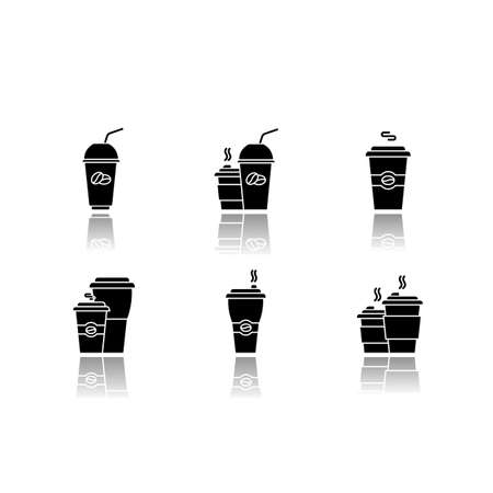 Coffee to go drop shadow black glyph icons set. Disposable plastic cups with caffeine drinks. Take out cold and hot beverages. Latte, cappuccino mugs. Isolated vector illustrations on white space