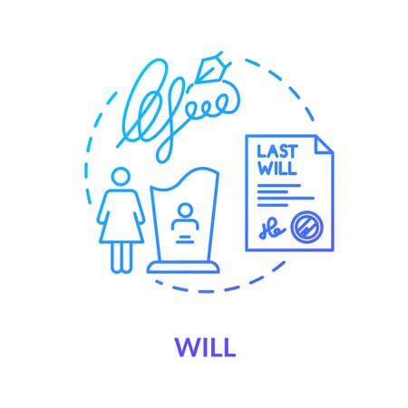 Will blue concept icon. Solicitor for legal aid. Testament of deceased person. Legacy for widow. Beneficiary. Notary service idea thin line illustration. Vector isolated outline RGB color drawing