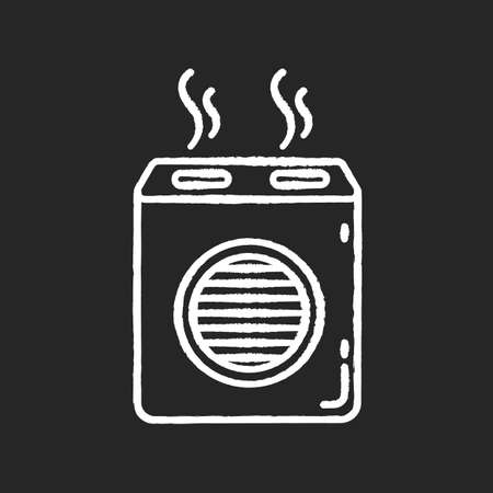 Modern air filter chalk white icon on black background. Humidifying household appliance, home air purifier, room climate regulating equipment. Isolated vector chalkboard illustration
