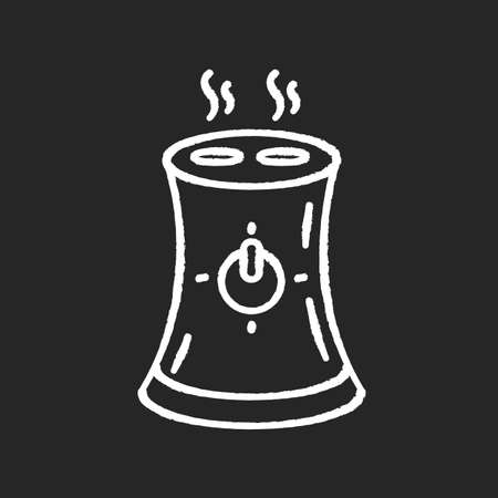 Air purifier, home device chalk white icon on black background. Portable air humidifier, domestic electrical appliance, humidity regulation equipment. Isolated vector chalkboard illustration