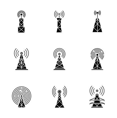 5G cell towers and antennas black glyph icons set on white space. Wireless technology. Fast connection. Mobile network coverage. Telecommunication. Silhouette symbols. Vector isolated illustration