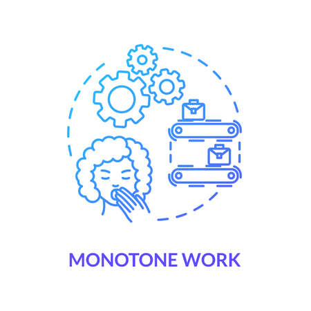 Monotone work blue concept icon. Upset girl. Woman yawning. Overworked lady. Boring labor. Sleepy secretary. Burnout cause idea thin line illustration. Vector isolated outline RGB color drawing