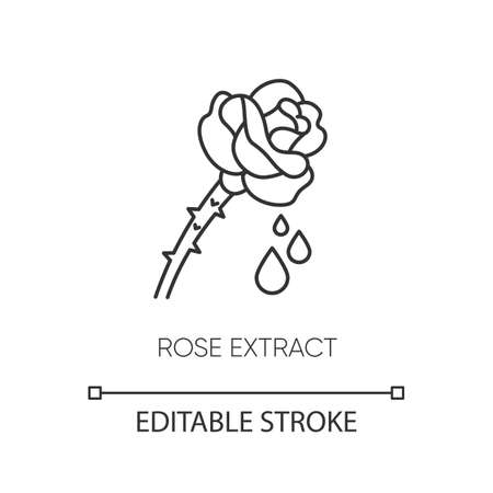 Rose extract pixel perfect linear icon. Flower petals. Fragrant component. Floral serum. Thin line customizable illustration. Contour symbol. Vector isolated outline drawing. Editable stroke