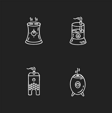 Water evaporators chalk white icons set on black background. Air humidifiers, climate control household appliances, premises humidity regulators. Isolated vector chalkboard illustrations
