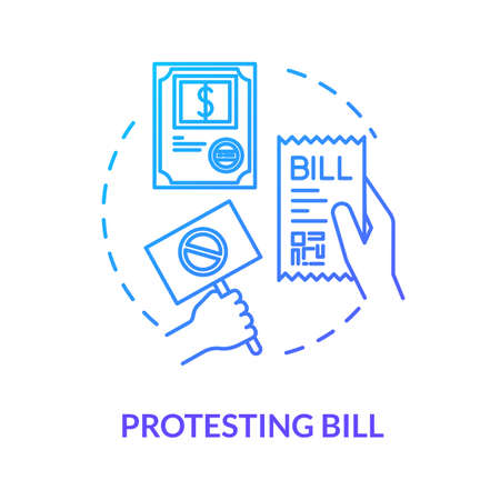Protesting bill blue concept icon. Invoice papers. Public law. Official legislation document. Social activist. Notary service idea thin line illustration. Vector isolated outline RGB color drawing