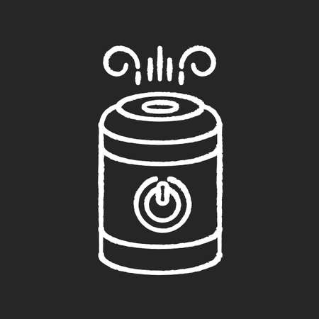 Air cleaner, steam humidifier chalk white icon on black background. Household appliance, ionizer, water vaporizer, healthcare domestic device. Isolated vector chalkboard illustration