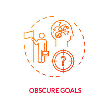 Obscure goals red concept icon. Problem with job. Chaos in direction. Complicated task. Unclear target. Burnout cause idea thin line illustration. Vector isolated outline RGB color drawing