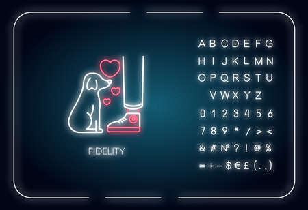 Fidelity neon light icon. Outer glowing effect. Sign with alphabet, numbers and symbols. Friendship with pet. Domestic animal love and loyalty. Little puppy vector isolated RGB color illustration