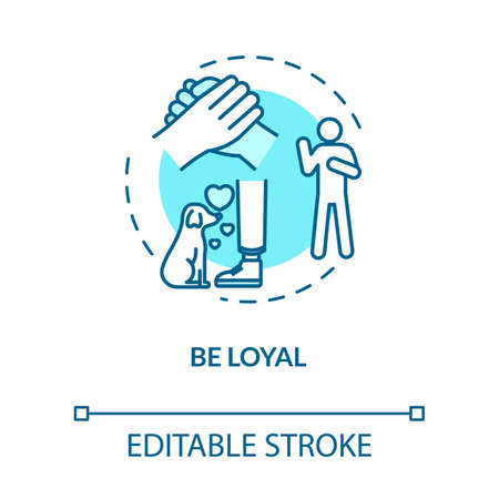Be loyal concept icon. Friendship relationships and social skills advice. Being faithful and trustworthy idea thin line illustration. Vector isolated outline RGB color drawing. Editable stroke