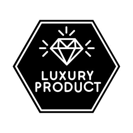 Luxury product black glyph icon. High class jewellery, expensive product silhouette symbol on white space. Jewelry store logo. Elegant emblem with shiny diamond vector isolated illustration