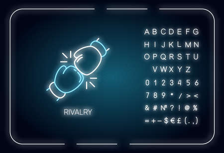 Rivalry neon light icon. Outer glowing effect. Sign with alphabet, numbers and symbols. Friendly contest, competitive relationship. Rivals confrontation. Vector isolated RGB color illustration