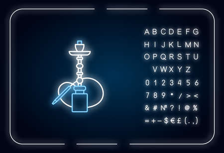 Hookah neon light icon. Sheesha house. Water pipe, bong. Nargile lounge. Smoking area. Outer glowing effect. Sign with alphabet, numbers and symbols. Vector isolated RGB color illustration Illustration