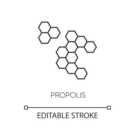 Propolis pixel perfect linear icon. Honey combs. Hive cell. Acne treatment component. Thin line customizable illustration. Contour symbol. Vector isolated outline drawing. Editable stroke