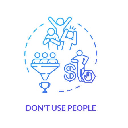 Dont use people concept icon. Abuser, selfish person. Egocentric and narcissistic friend. Abusive relationships idea thin line illustration. Vector isolated outline RGB color drawing