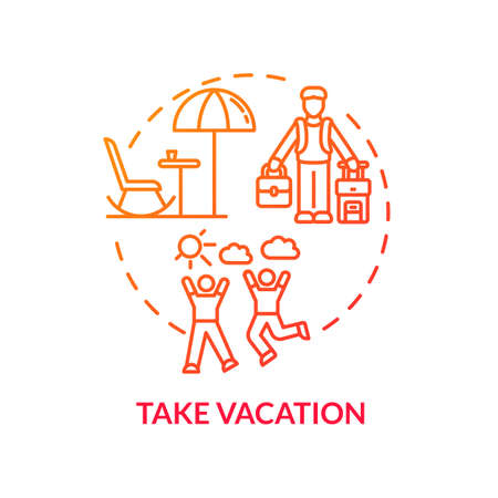 Take vacation red concept icon. Voyage, trip. Go on journey. Traveling abroad. Rest from work. Recreation outside. Avoid burnout idea thin line illustration. Vector isolated outline RGB color drawing