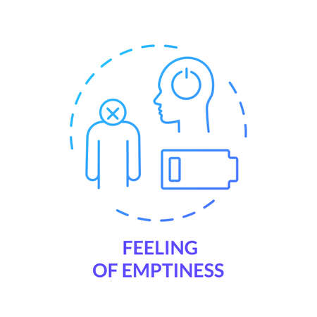 Feeling of emptiness blue concept icon. Upset and lonely. Low energy. Exhausted person. Sorrow and frustration. Burnout symptom idea thin line illustration. Vector isolated outline RGB color drawing Ilustração