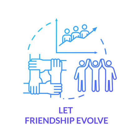 Let friendship evolve concept icon. Social interactions, communication and personal skill. Friends relationship idea thin line illustration. Vector isolated outline RGB color drawing Illustration