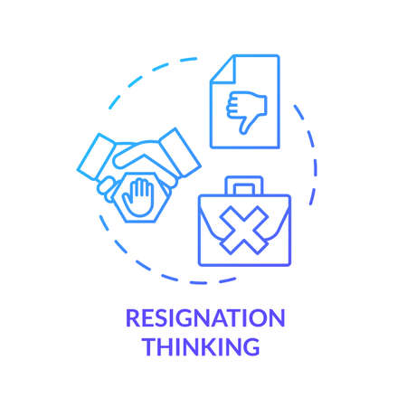 Resignation thinking blue concept icon. Unhappy boss. Failure at work. Dismissed from position. Burnout symptom idea thin line illustration. Vector isolated outline RGB color drawing Ilustração