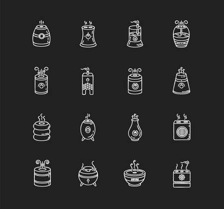 Air purifiers, humidifiers chalk white icons set on black background. Climate control devices, household appliances, indoor humidity regulators. Isolated vector chalkboard illustrations