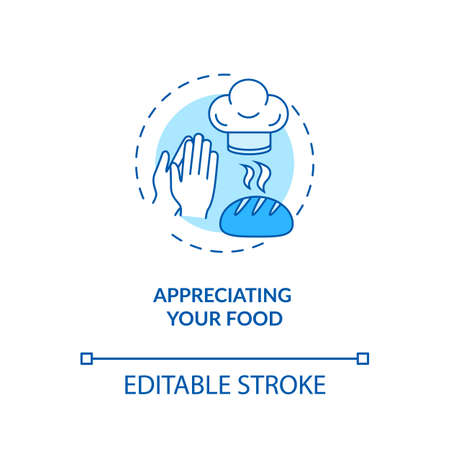Appreciating your food concept icon. Conscious nutrition, mindful eating idea thin line illustration. Expressing gratitude for meal. Vector isolated outline RGB color drawing. Editable stroke Banque d'images - 142180036