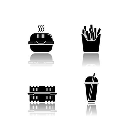 Takeaway food packages drop shadow black glyph icons set. Burger cardboard box, empty plastic container, disposable cup with straw, french fries pack. Isolated vector illustrations on white space Ilustração