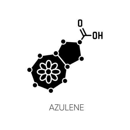 Azulene black glyph icon. Scientific compound. Chemical skincare formula. Blue pigment. Molecular structure. Atomic chain. Silhouette symbol on white space. Vector isolated illustration