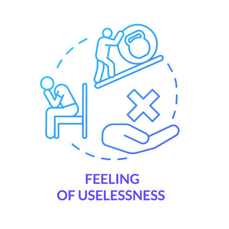 Feeling of uselessness blue concept icon. Employee with low self-esteem. Loneliness and solitude. Burnout symptom idea thin line illustration. Vector isolated outline RGB color drawing