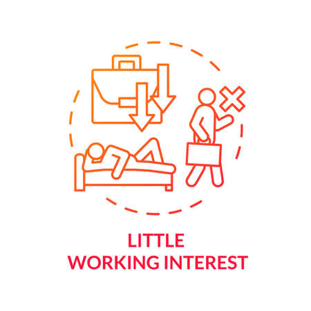 Little working interest red concept icon. Overwhelmed people. Lazy man. Tired and unhappy employee. Take nap. Burnout symptom idea thin line illustration. Vector isolated outline RGB color drawing