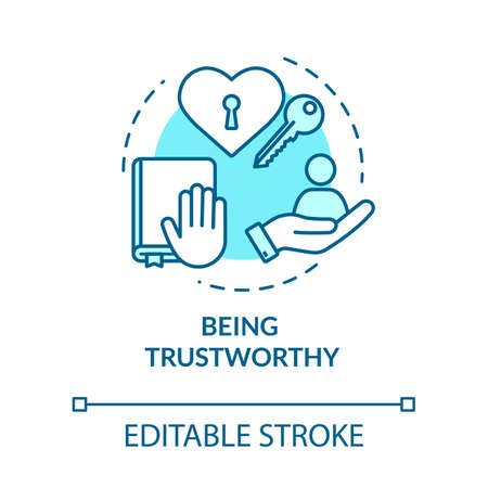 Being trustworthy concept icon. People secrets keeping. Being loyal, dependable and faithful idea thin line illustration. Vector isolated outline RGB color drawing. Editable stroke Ilustración de vector