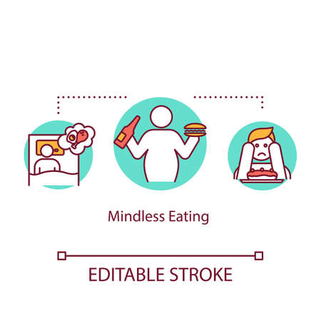 Mindless eating concept icon. Unhealthy nutrition, overeating idea thin line illustration. Late night snacks, junk food and emotional eating. Vector isolated outline RGB color drawing. Editable stroke