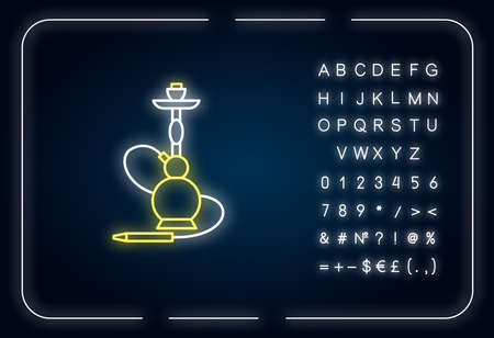 Hookah neon light icon. Sheesha house. Egyptian relaxation. Nargile lounge. Smoking area. Outer glowing effect. Sign with alphabet, numbers and symbols. Vector isolated RGB color illustration Vettoriali