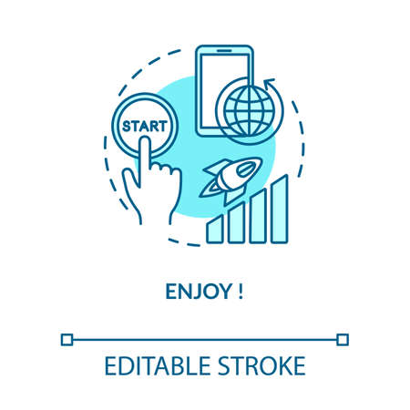 Enjoy turquoise concept icon. Press start button. Quality internet connection. 4g coverage. Roaming idea thin line illustration. Vector isolated outline RGB color drawing. Editable stroke