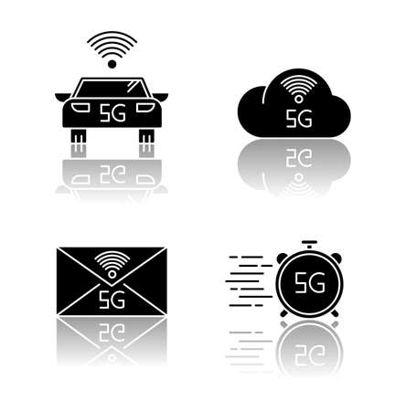 5G wireless technology drop shadow black glyph icons set. Smart vehicle. Fast speed. Cloud computing. Improved messaging. Mobile cellular network. Isolated vector illustrations on white space