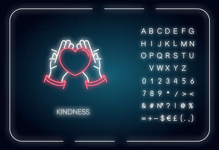 Kindness neon light icon. Outer glowing effect. Sign with alphabet, numbers and symbols. Emotional affection, love and support, friendship. Hands holding heart vector isolated RGB color illustration