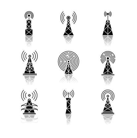 5G cell towers and antennas drop shadow black glyph icons set. Wireless technology. Fast connection. Mobile network coverage. Telecommunication. Isolated vector illustrations on white space