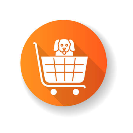 Dogs allowed supermarket, petshop orange flat design long shadow glyph icon. Doggy permitted shop, domestic animals welcome store. Happy puppy in shopping cart. Silhouette RGB color illustration