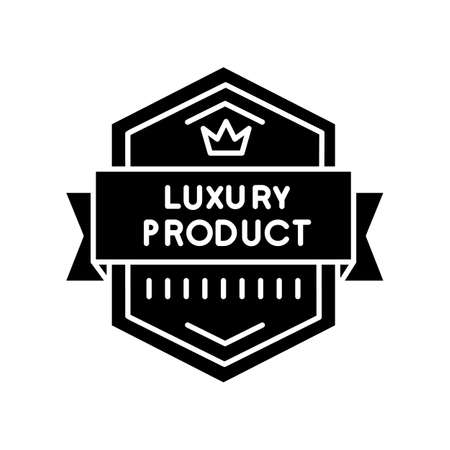 Luxury product black glyph icon. Brand exclusiveness, prestigious status silhouette symbol on white space. Luxurious premium goods badge with crown and banner ribbon vector isolated illustration