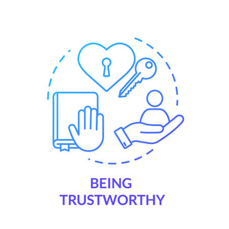 Being trustworthy concept icon. People secrets keeping. Fidelity value. Being loyal, dependable and faithful friend idea thin line illustration. Vector isolated outline RGB color drawing Çizim