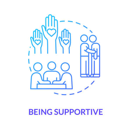 Being supportive concept icon. Helping and caring about friends troubles. Depressed mate comforting and encourage idea thin line illustration. Vector isolated outline RGB color drawing