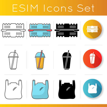 Take away food packages icons set. Plastic bag with handles, cold drink disposable cup, container for salad. Takeout meal packing. Linear, black and RGB color styles. Isolated vector illustrations