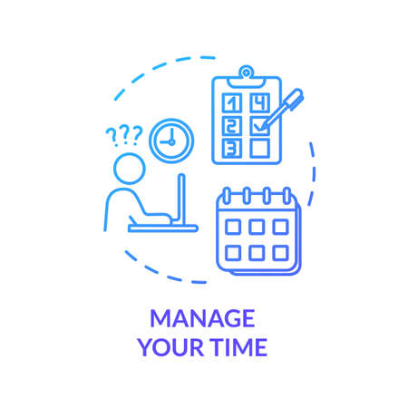 Manage your time blue concept icon. Efficiency, productivity. Demanding labor. Control project. Avoid burnout idea thin line illustration. Vector isolated outline RGB color drawing