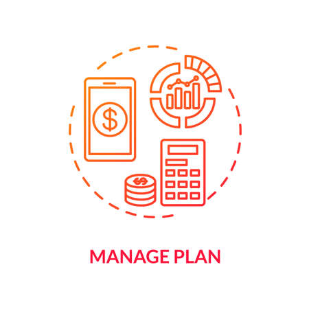 Manage plan red concept icon. Internet tariff cost. Calculate payment online. Mobile banking. Manage finance. Roaming idea thin line illustration. Vector isolated outline RGB color drawing