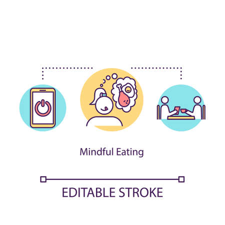 Mindful eating concept icon. Conscious nutrition idea thin line illustration. Attentive food consumption, avoiding overeating. Vector isolated outline RGB color drawing. Editable stroke
