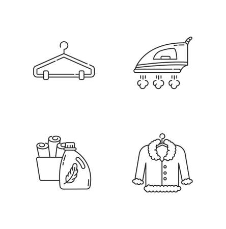 Laundry, clothes care pixel perfect linear icons set. Delicate fur dry cleaning and ironing. Customizable thin line contour symbols. Isolated vector outline illustrations. Editable stroke