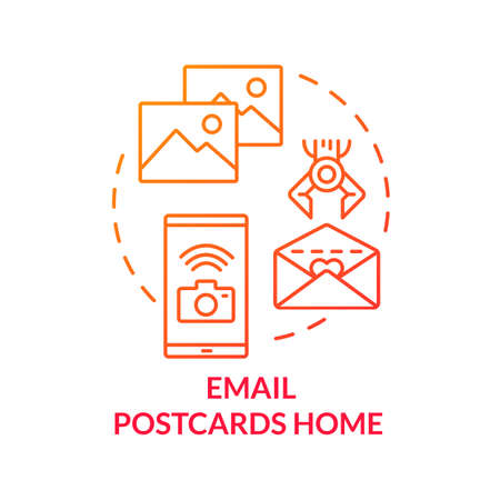 Email postcards home red concept icon. Send picture with smartphone. Upload newsletter. Post greeting card. Roaming idea thin line illustration. Vector isolated outline RGB color drawing
