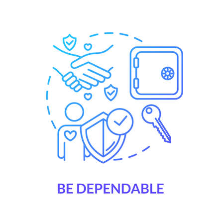 Be dependable concept icon. Friendship and relationships advices. Being loyal, reliable and trustworthy friend idea thin line illustration. Vector isolated outline RGB color drawing Ilustração