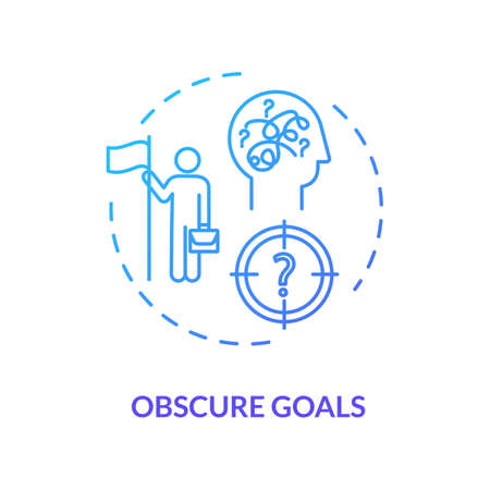 Obscure goals blue concept icon. Problem solving. Chaos in direction. Complicated task. Unclear target. Burnout cause idea thin line illustration. Vector isolated outline RGB color drawing Ilustração